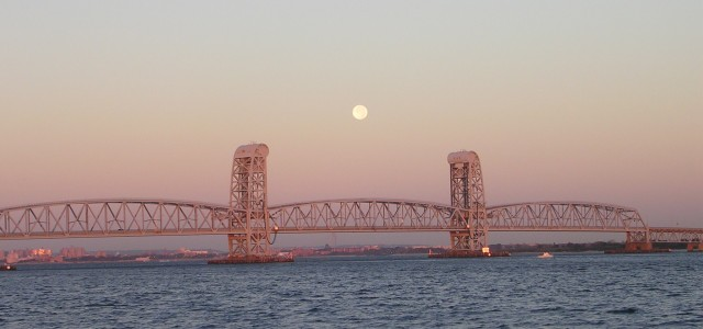 Hunter's Moon Sets Over Marine Parkway Bridge, Sat. 10/23/10, 7:28 a.m.--Copyright 2010 Vivian R. Carter