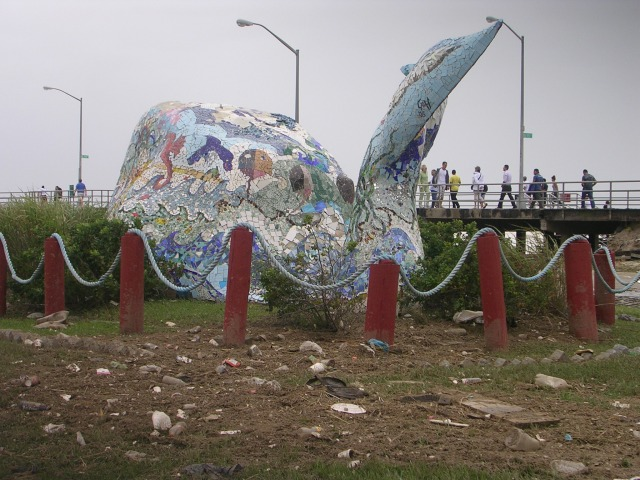 "Irene ""decorated"" the Whale display with loose trash; Superstorm Sandy smashed it to bits!"