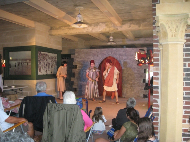 "Despite the threat of rain, Hip to Hip squeezed their production of ""A Comedy of Errors"" under the walkway at Riis Park Bathhouse in July 2012."